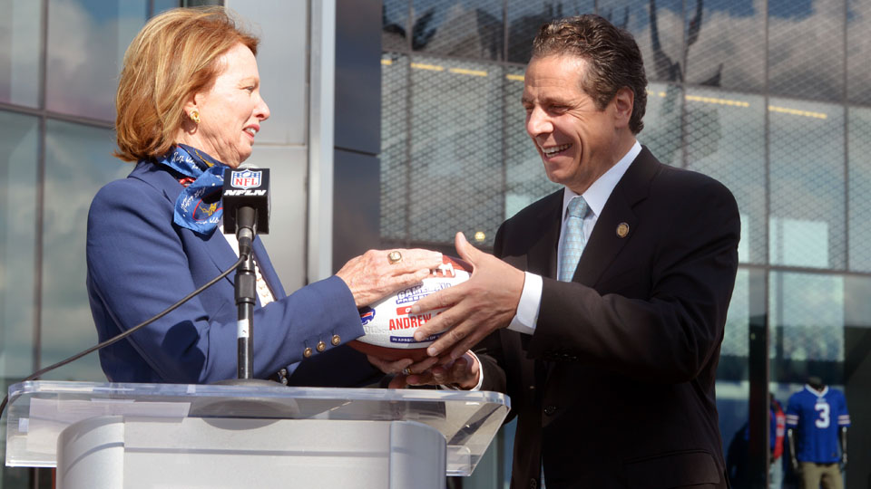 New York governor Andrew Cuomo with Mary Wilson, wife of the late Bills owner, Ralph Wilson.