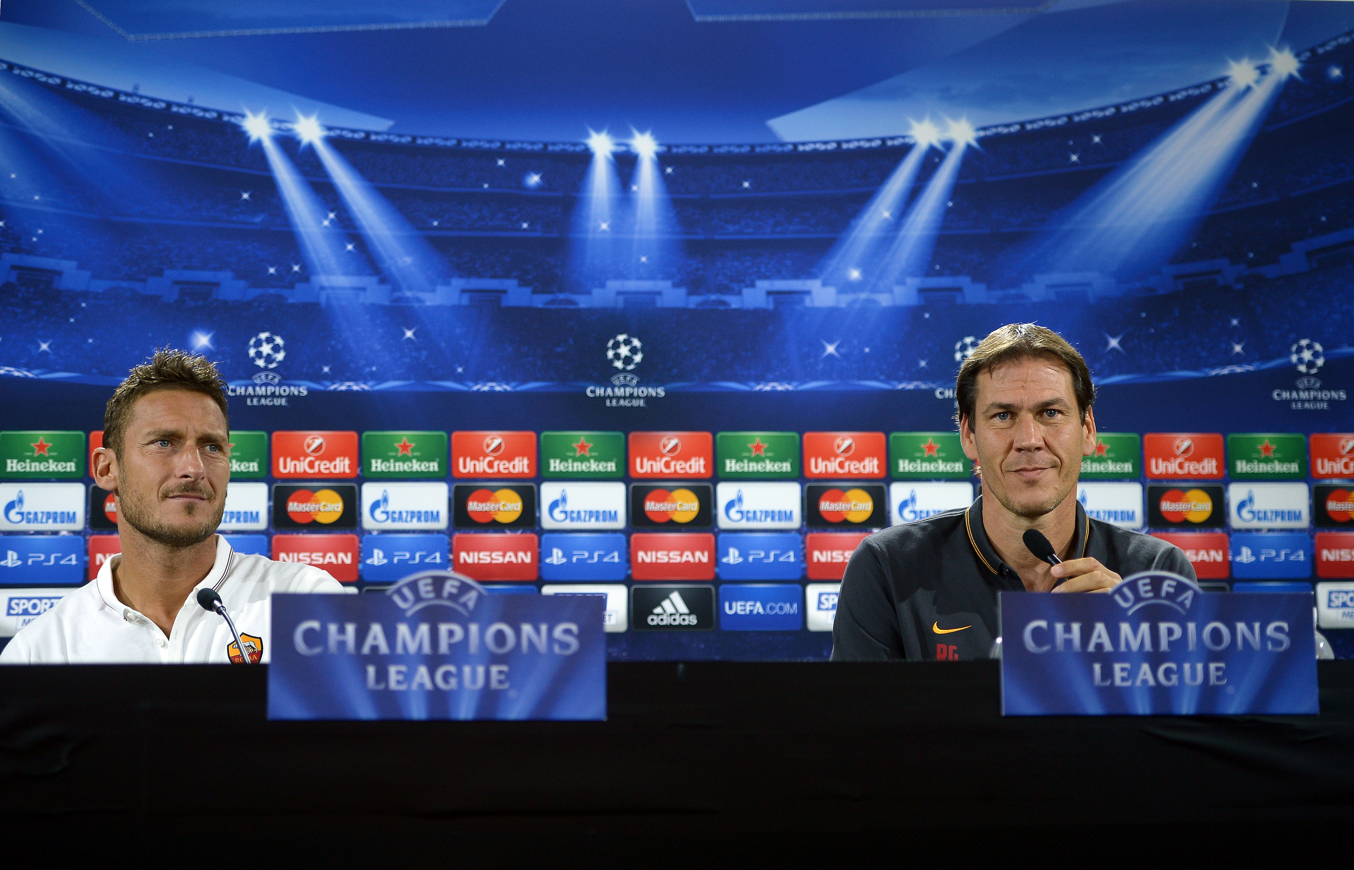 AS Roma captain Francesco Totti and coach Rudi Garcia give a press conference.