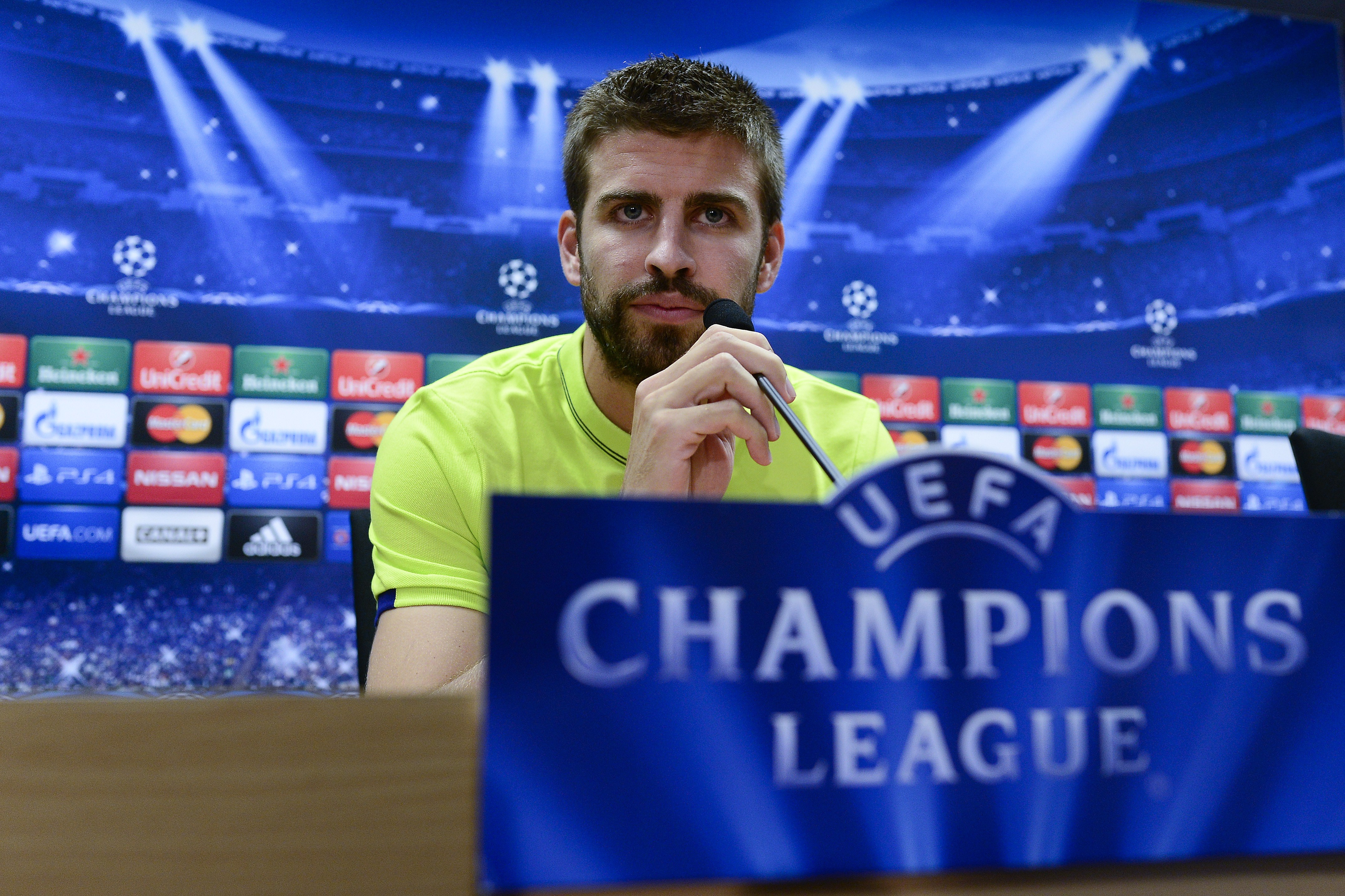 Barcelona's defender Gerard Pique gives a press conference on the eve of the UEFA Champions league football match FC Barcelona vs Apoel FC.