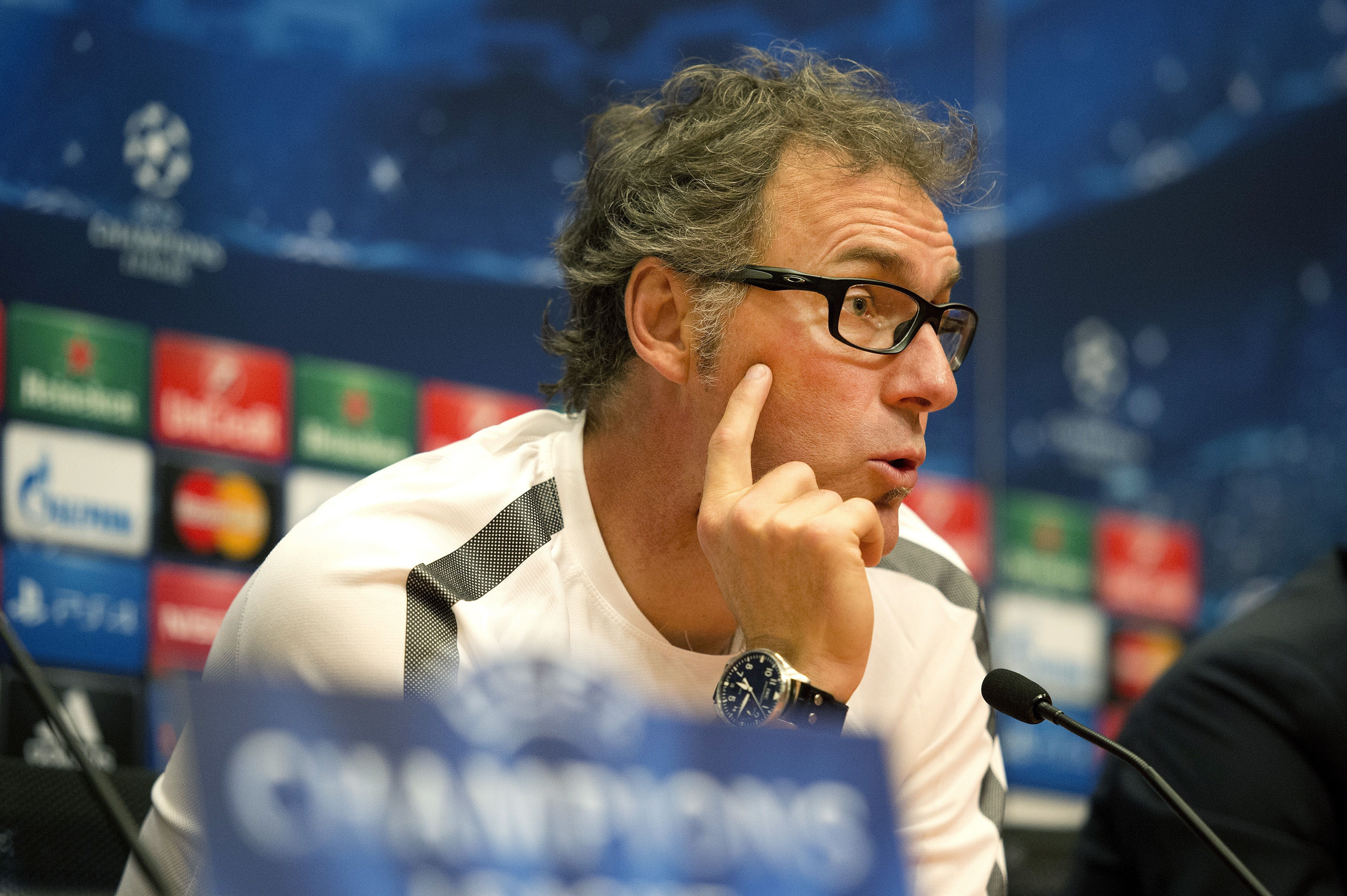 PSG coach Laurent Blanc speaks during a press conference before his team's first UEFA Champions League group match against Ajax.