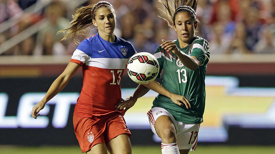 USA's Alex Morgan, shown here against on Sept. 13, completed the scoring on Thursday night against Mexico with a 79th-minute header.