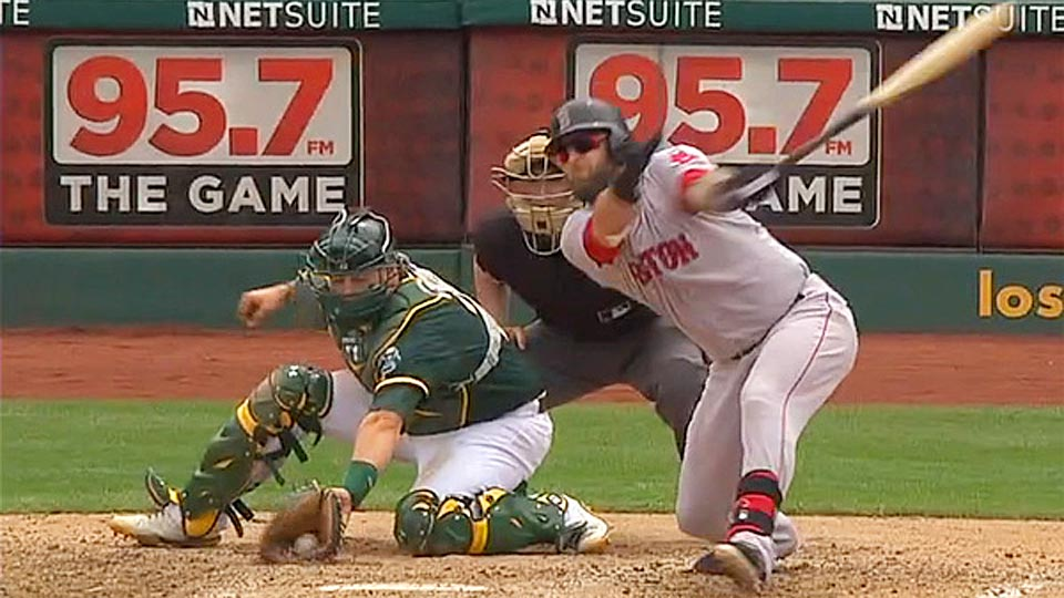 Stephen Vogt clearly caught this pitch but the umpires ruled that he trapped it and could not review it.