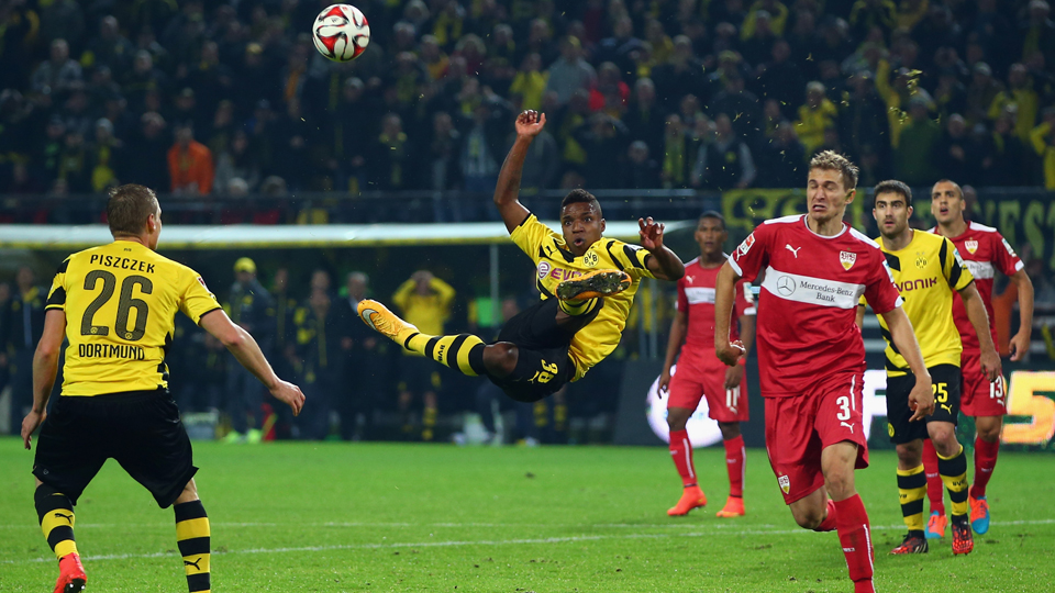 USA winger Joe Gyau has a go at the spectacular during his first-team debut for Borussia Dortmund on Wednesday in a 2-2 Bundesliga draw with Stuttgart.