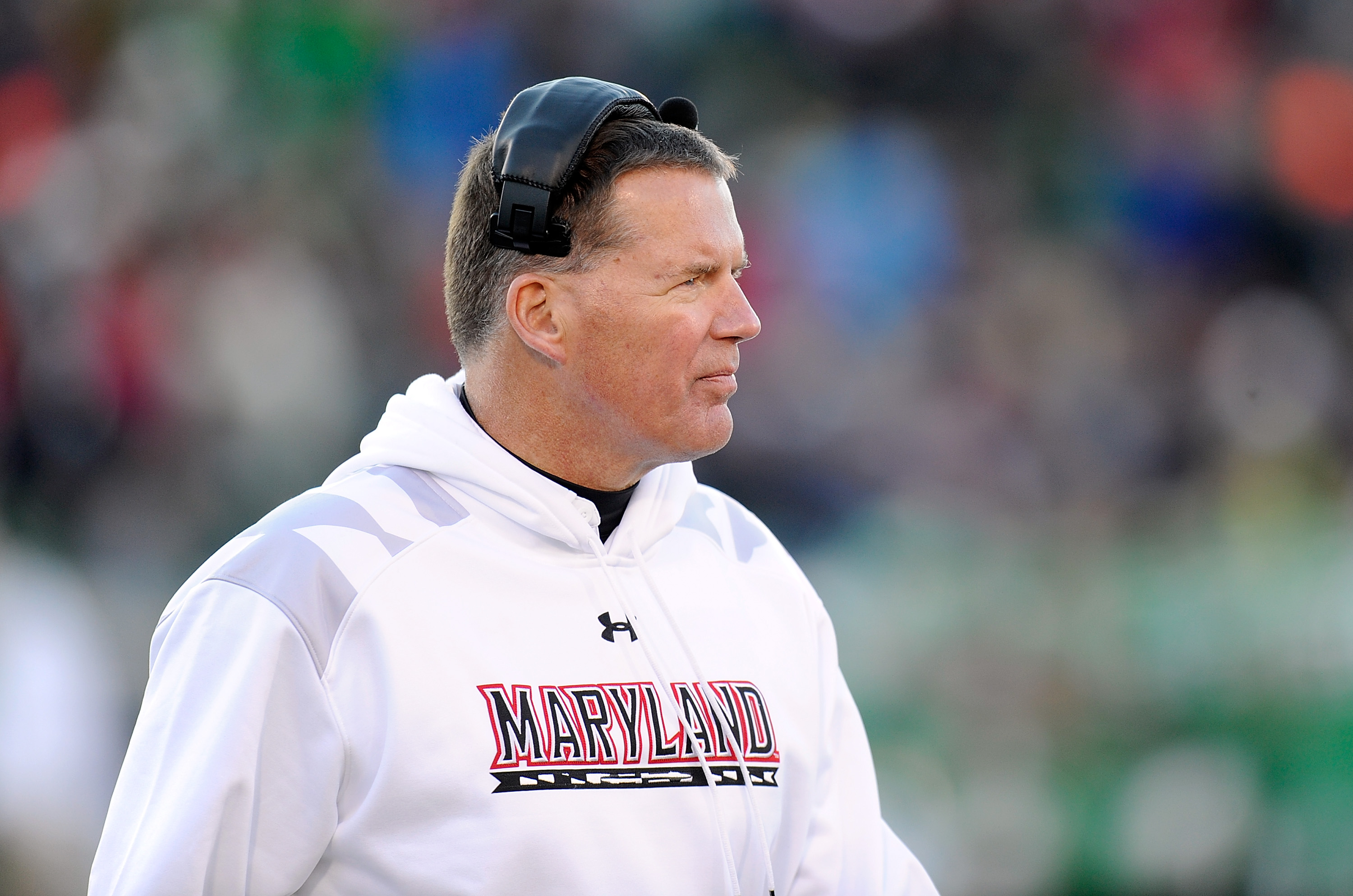 Head coach Randy Edsall of the Maryland Terrapins watches the game against the Marshall Herd during the 2013 Military Bowl at Navy-Marine Corps Memorial Stadium on December 27, 2013.