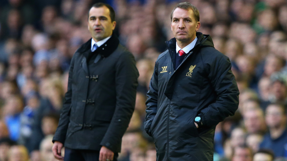 This season has been full of long faces for Everton manager Roberto Martinez, left, and Liverpool manager Brendan Rodgers, right.