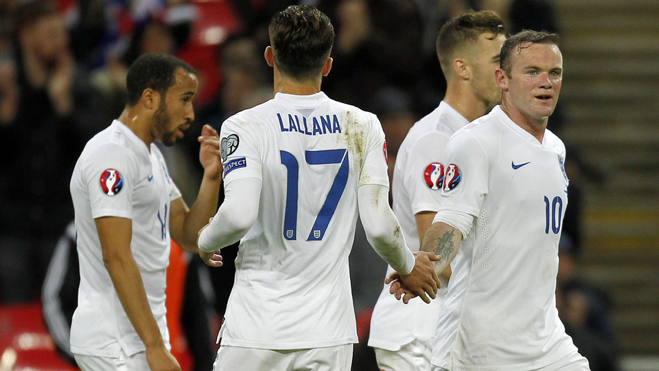 Wayne Rooney, right, is congratulated after scoring in England's 5-0 rout of San Marino in Euro 2016 qualifying.