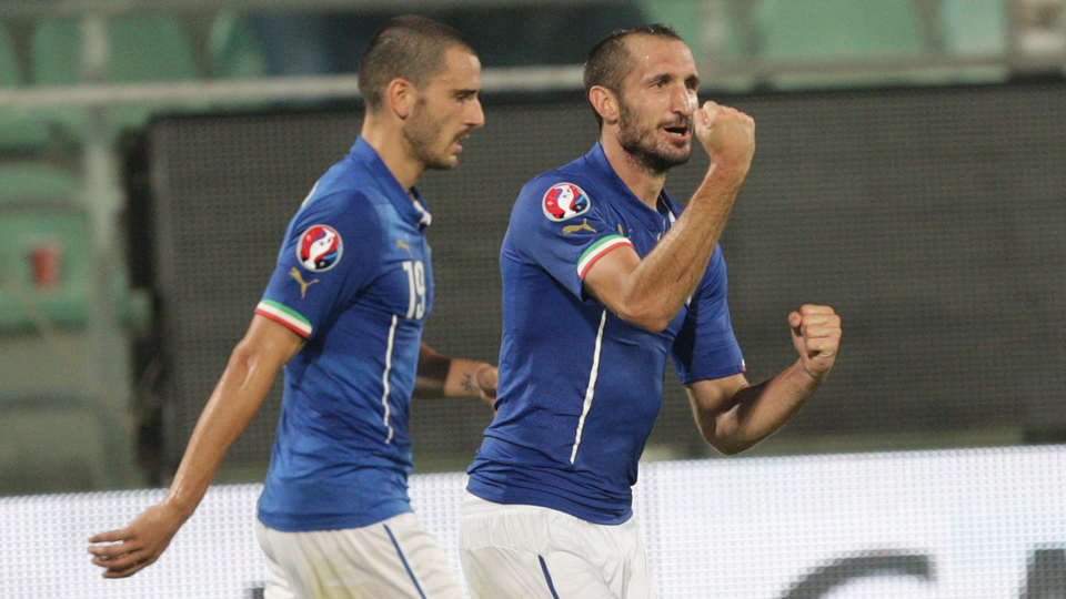 Giorgio Chiellini, right, celebrates one of his two goals for Italy in a Euro 2016 qualifying win over Azerbaijan