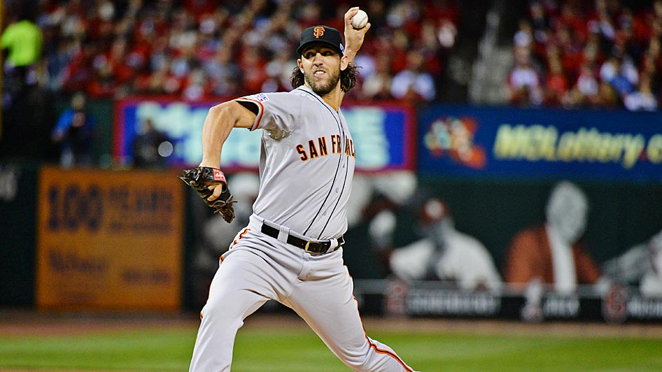 Madison Bumgarner, who led the Giants to a 3-0 NLCS Game 1 win over the Cardinals, has been lights out this postseason, posting a 0.76 ERA in 23 2/3 innings.