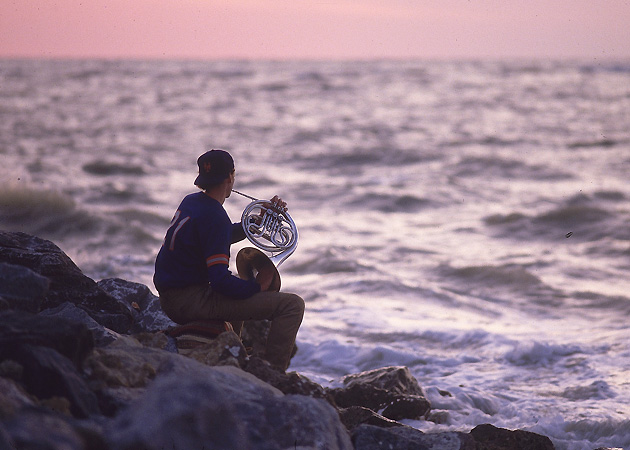 While the Met organization awaits his decision on April 1, Finch spends his non-pitching time communing with the sea and playing the french horn.