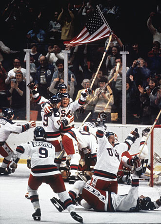 U.S. Olympic hockey team celebrates