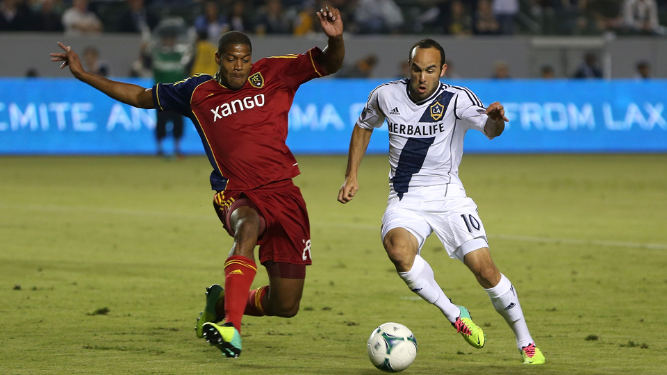 Chris Schuler, left, and Real Salt Lake will look to take down higher-seeded Landon Donovan and the LA Galaxy in the Western Conference semifinals.