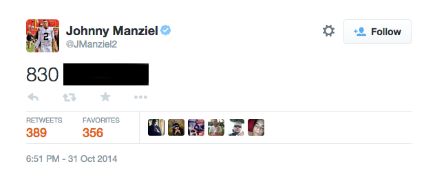 Cleveland Browns Johnny Manziel twitter phone number