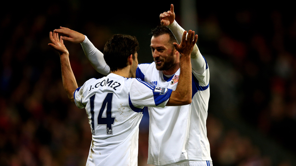 Jordi Gomez, left, and Steven Fletcher, right, combined for Sunderland's three goals in a 3-1 win at Crystal Palace.