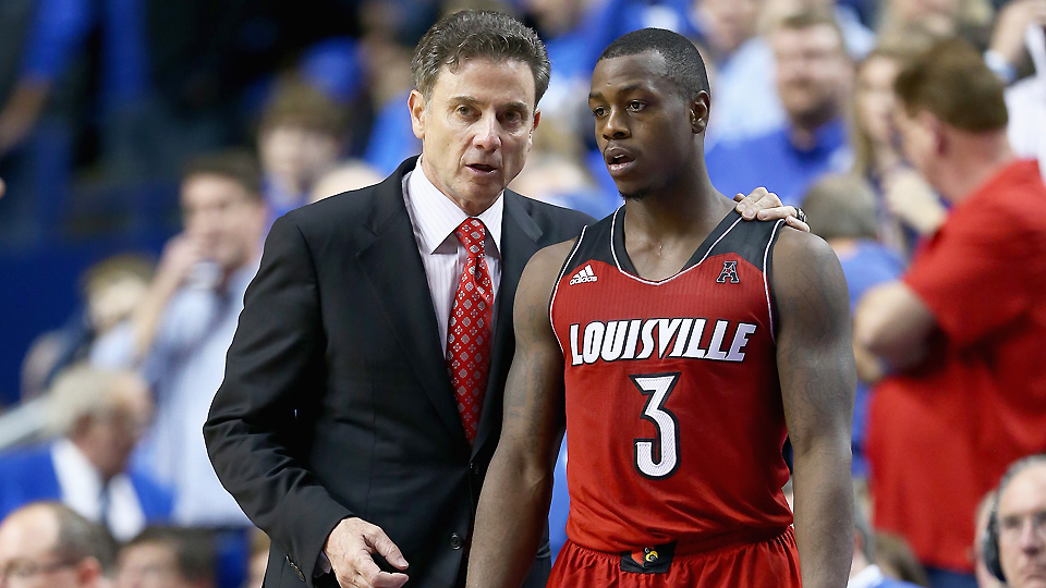 Rick Pitino (L) will lean on strong returning starters like Chris Jones to lead Louisville in its first season in the ACC.