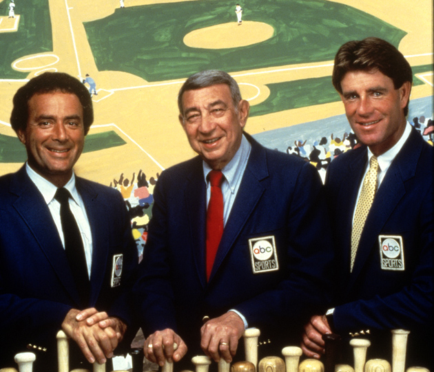 From left to right: Al Michaels, Howard Cosell and Hall of Fame pitcher Jim Palmer.