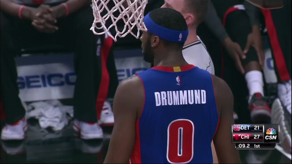 473039eef84 Detroit Pistons  Andre Drummond takes the floor with misspelled ...