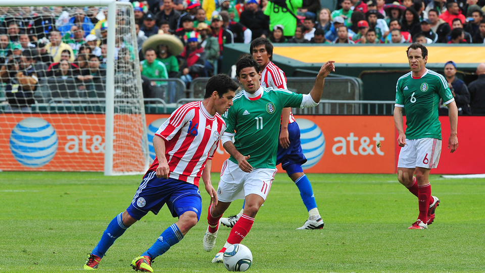 Carlos Vela (11) makes his long-awaited return to Mexico's national team since playing against Paraguay, pictured above, in March 2011.