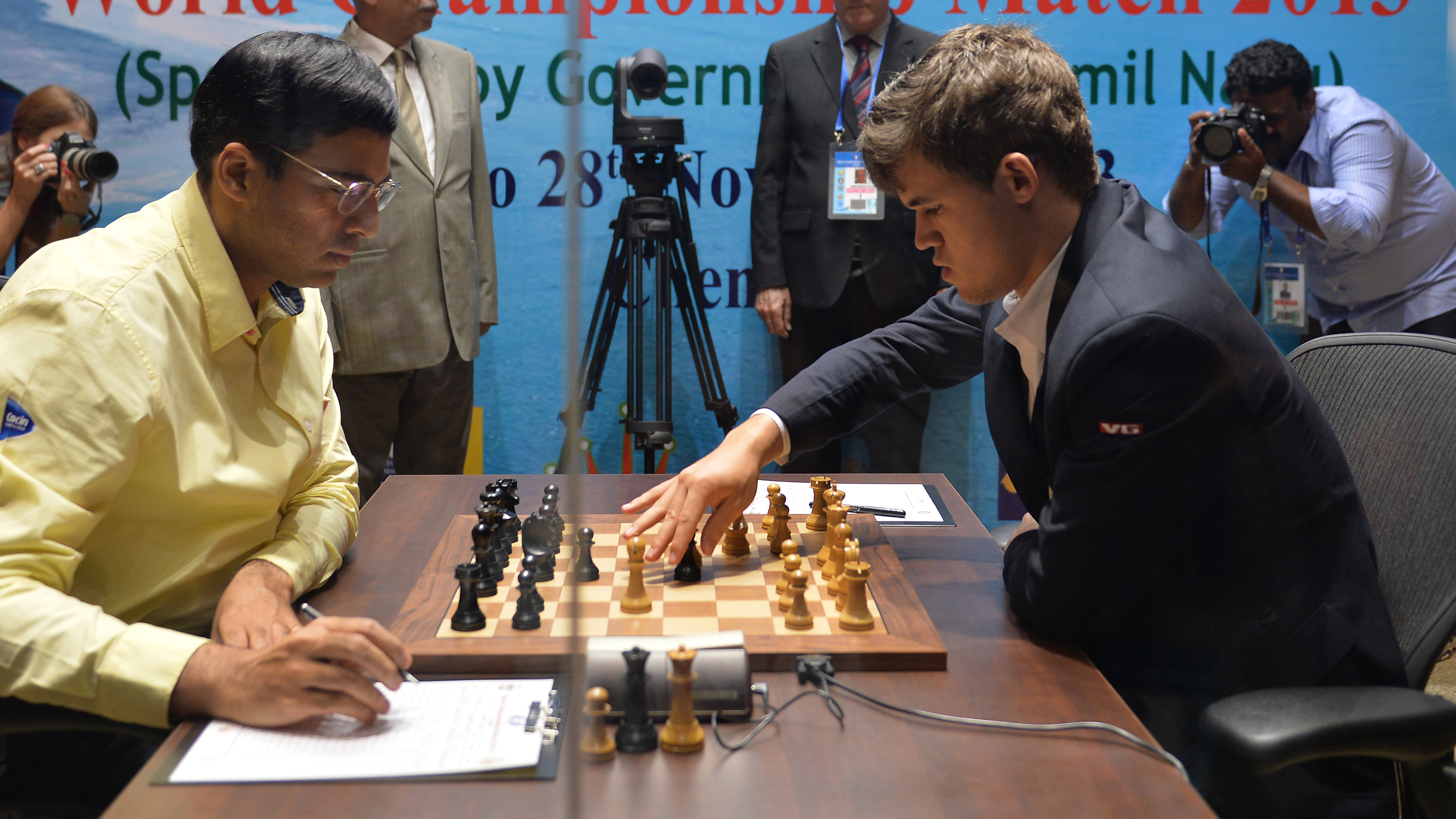 Vishy Anand and Magnus Carlsen in the 2013 World Championship