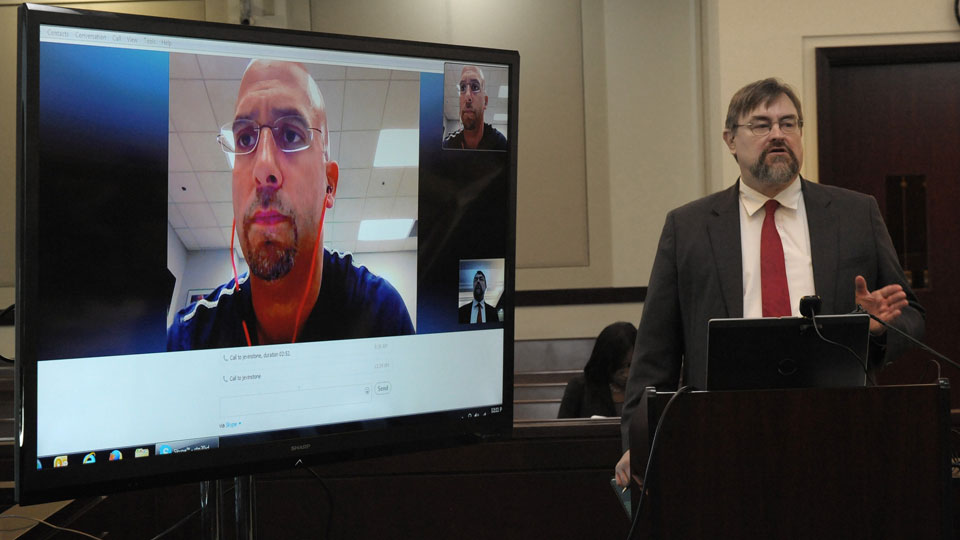 James Franklin (left) testifies to John Herbison (right), an attorney of former Vanderbilt player Brandon Vandenburg