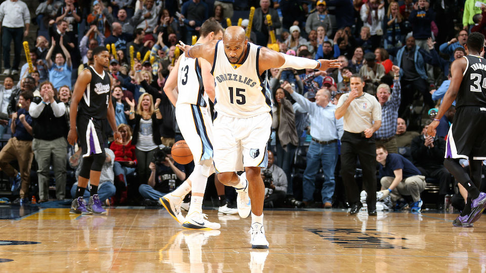 Vince Carter celebrates his game-winning assist in Memphis' win over Sacramento, which was upheld by the NBA.
