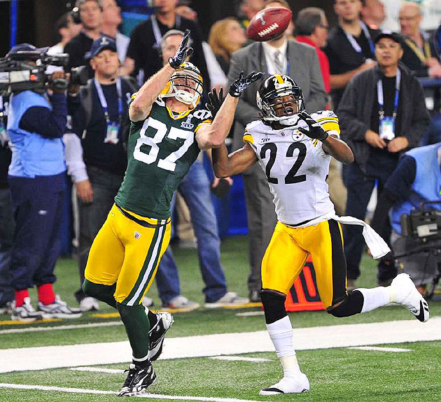 Jordy Nelson catches a touchdown over William Gay in Super Bowl XLV