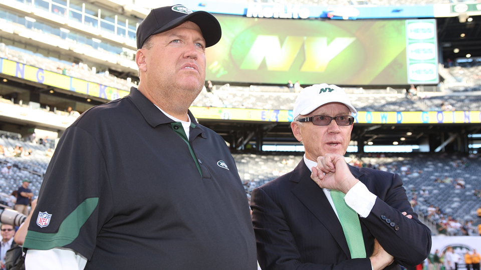 New York Jets head coach Rex Ryan and owner Woody Johnson, pictured in 2010.