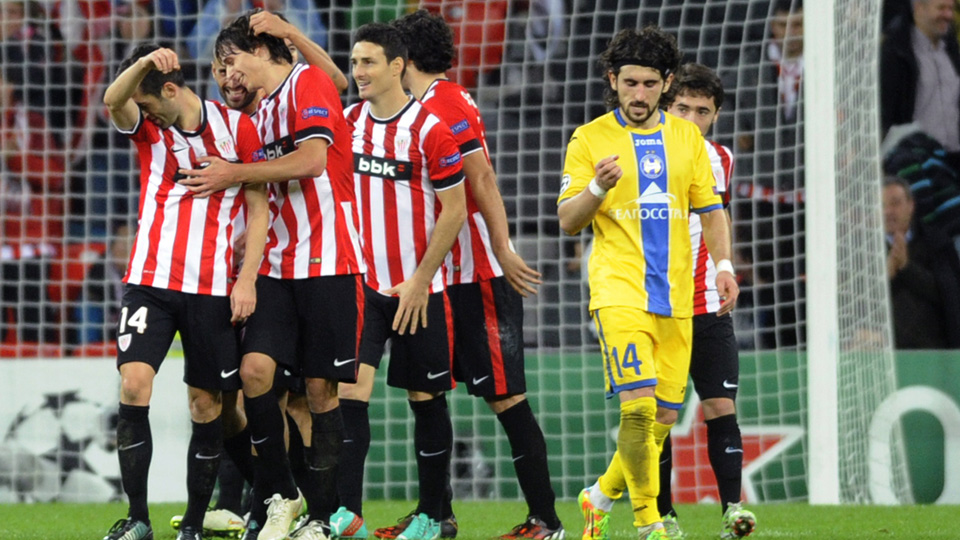 Athletic Bilbao players celebrate a goal in their 2-0 win over BATE Borisov in the Champions League.