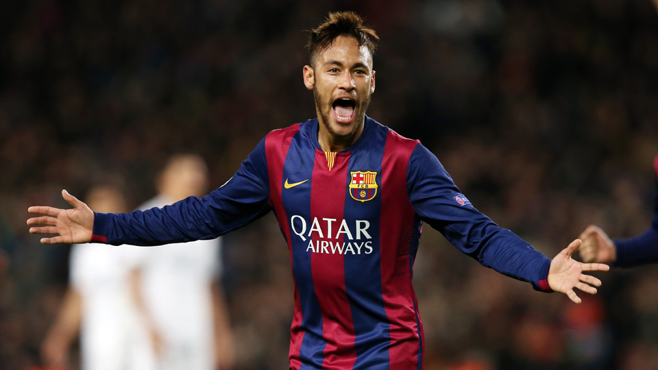 Neymar celebrates his highlight-reel goal in Barcelona's 3-1 win over PSG in the Champions League.