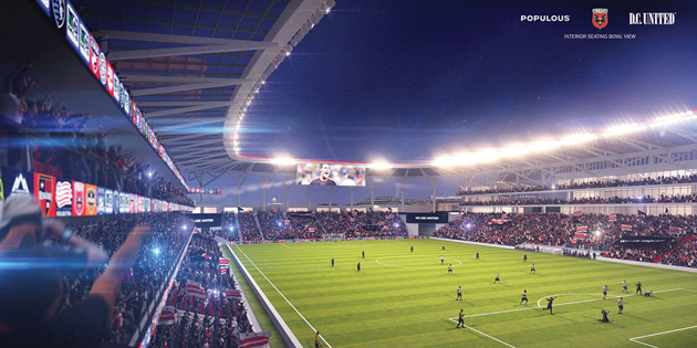 From the inside, a rendering of what a new D.C. United stadium could look like, if actually built.