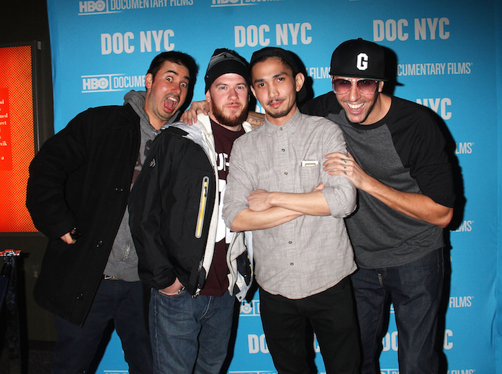 Matt Siren, Marty, Nevin Caulfield and Vanchiro (left to right) attend 'Banksy Does New York' Screening at SVA Theater on Nov. 14, 2014 in New York City.