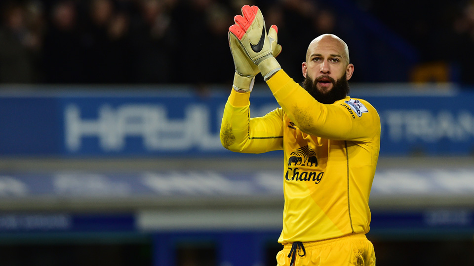 Everton and American goalkeeper Tim Howard had plenty to clap about in Monday's 3-1 win over Queens Park Rangers.