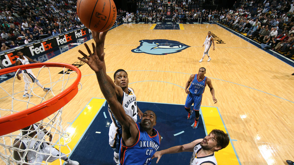 Rudy Gay #22 of the Memphis Grizzlies jumps for a rebound against Kendrick Perkins #5 of the Oklahoma City Thunder on January 10, 2012