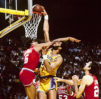 Jabbar helped the Lakers dunk Julius Erving and the 76ers in the 1980 NBA Finals.