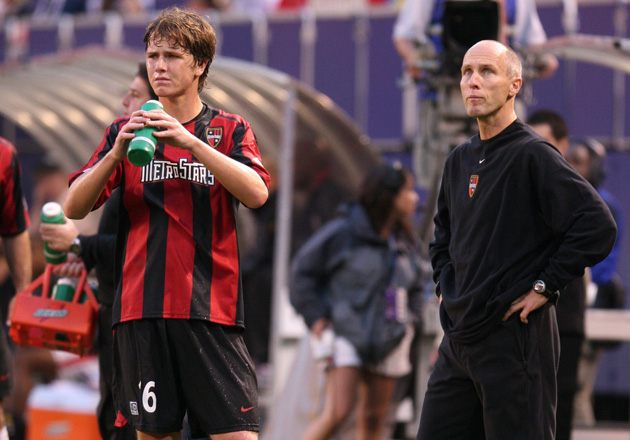 At just 16, Michael Bradley, left, played for his father, Bob, right, with the New York/New Jersey MetroStars.