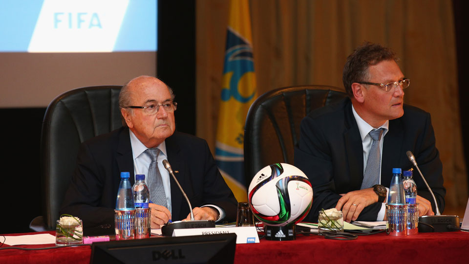 FIFA President Joseph S. Blatter (L) looks on during the FIFA Executive Committee Meeting on December 18, 2014 in Marrakech, Morocco.