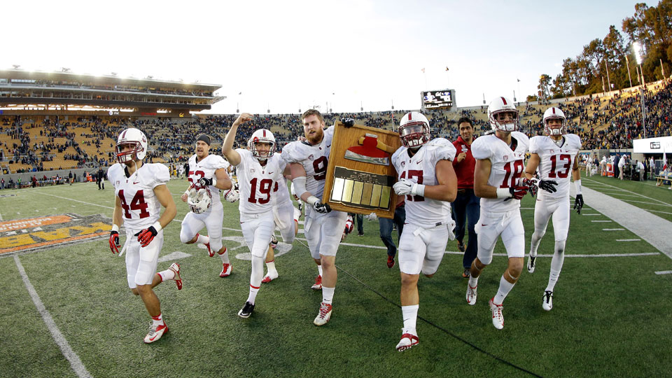 The Stanford Cardinal celebrate with the Axe after they defeated the California Golden Bears on November 22, 2014