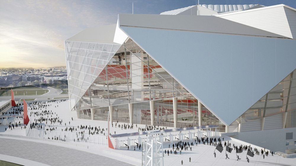 Rendering of the Northeast Plaza of the Atlanta Falcons' new stadium, which will open in 2017.