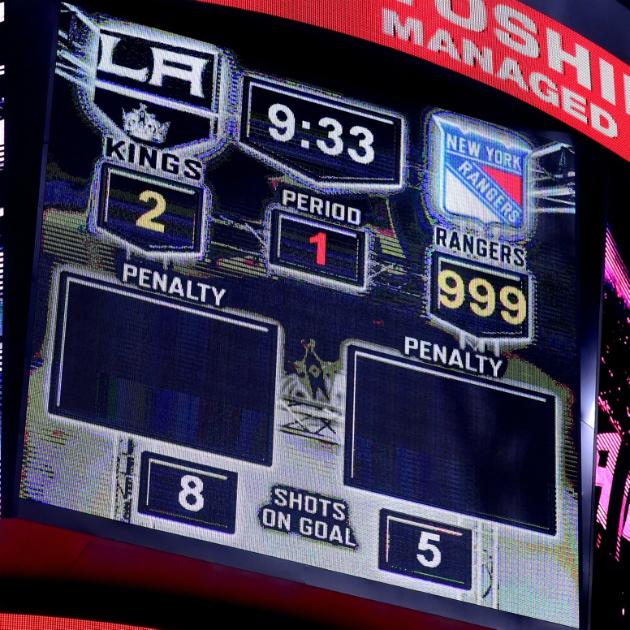 Los Angeles Kings-New York Rangers scoreboard malfunction