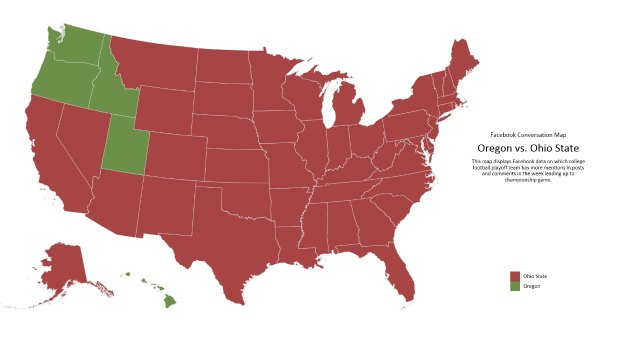 Facebook map shows which states prefer Oregon, Ohio State