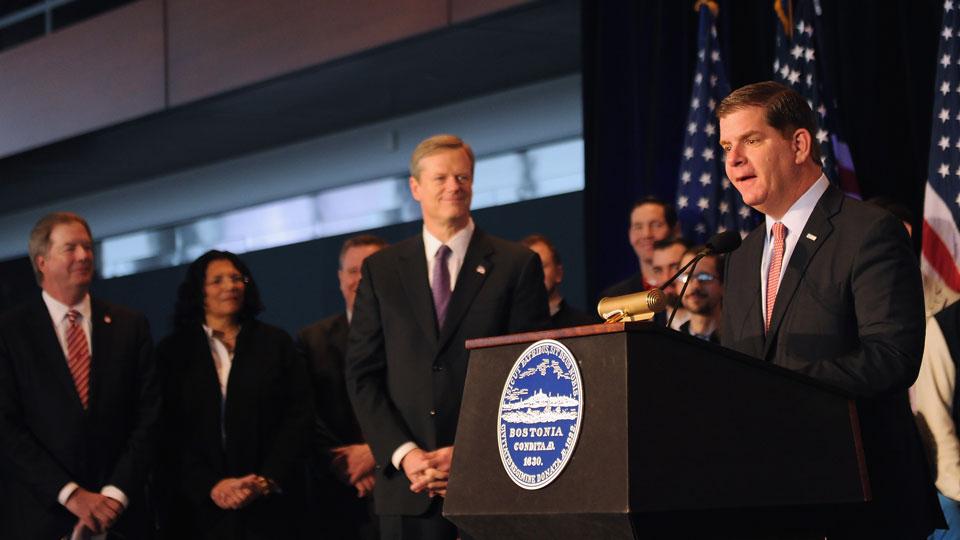Boston mayor Martin J. Walsh at a press conference announcing Boston's 2024 Olympics bid