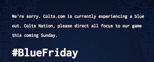 indianapolis colts website shut down afc championship game