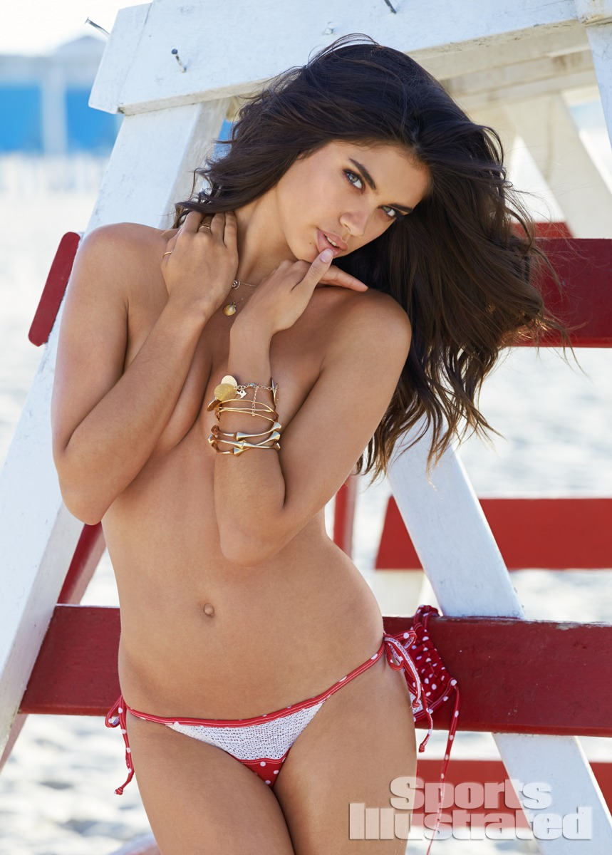 Sara Sampaio was photographed by Ben Watts at the Jersey Shore. Swimsuit by Maui Girl by Debbie Wilson.