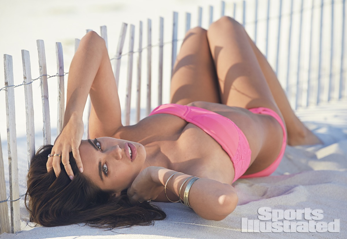 Sara Sampaio was photographed by Ben Watts at the Jersey Shore. Swimsuit by Xhilaration for Target.