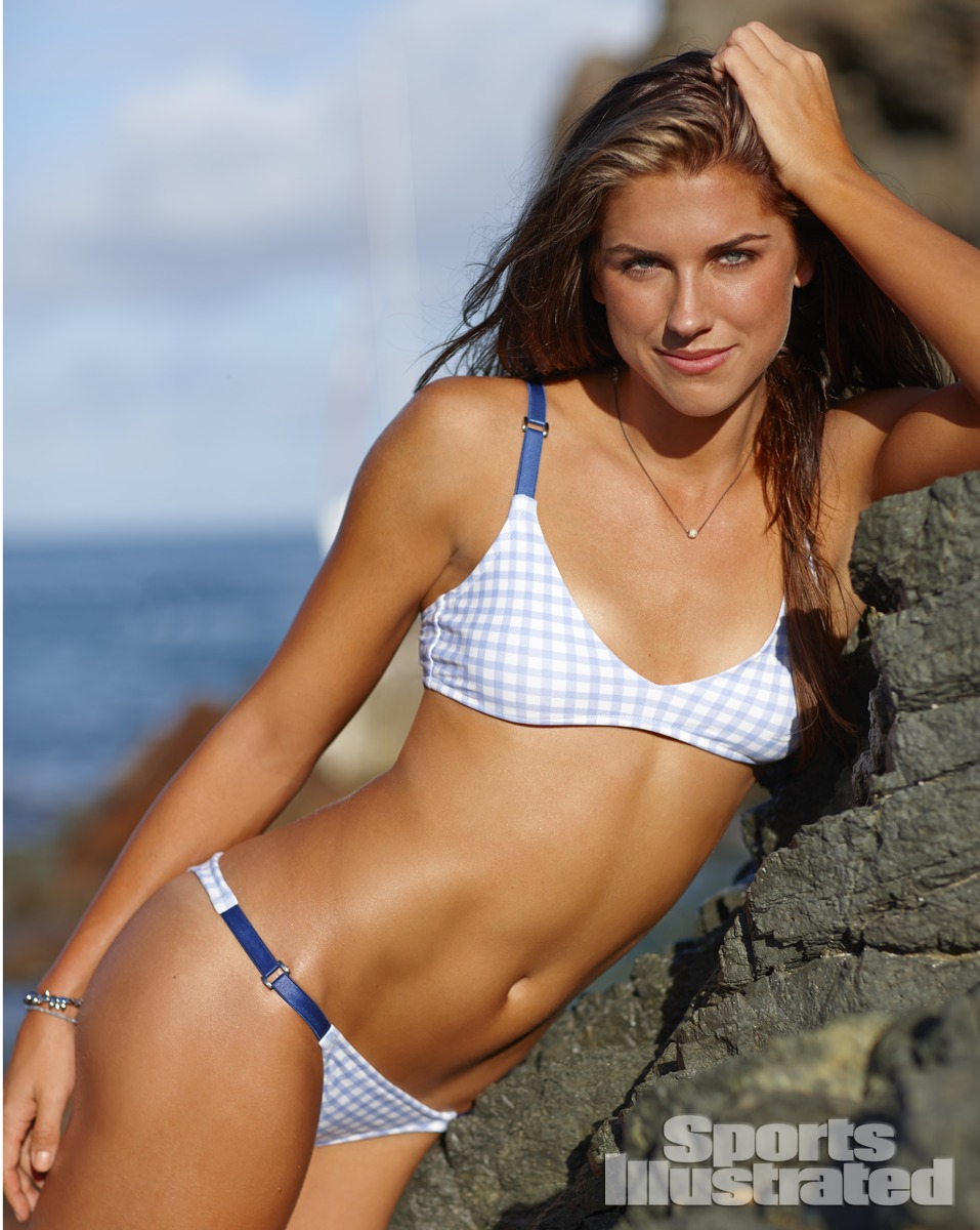 Alex Morgan was photographed by Adam Franzino in Guana Island. Swimsuit by Ola Vida.