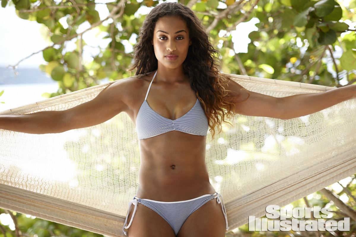 Skylar Diggins was photographed by Adam Franzino in Guana Island. Swimsuit by L*SPACE by Monica Wise.