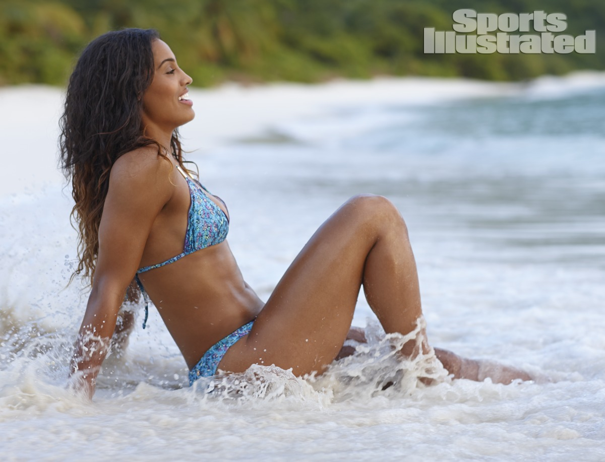 Skylar Diggins was photographed by Adam Franzino in Guana Island. Swimsuit by Guria Beachwear.