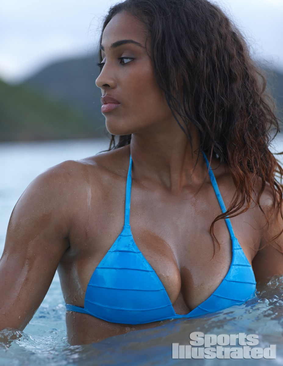 Skylar Diggins was photographed by Adam Franzino in Guana Island. Swimsuit by Voda Swim.