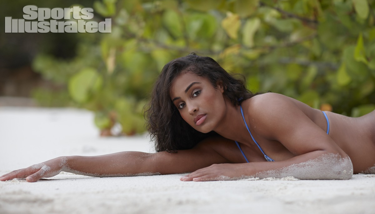Skylar Diggins was photographed by Adam Franzino in Guana Island. Swimsuit by Inca.