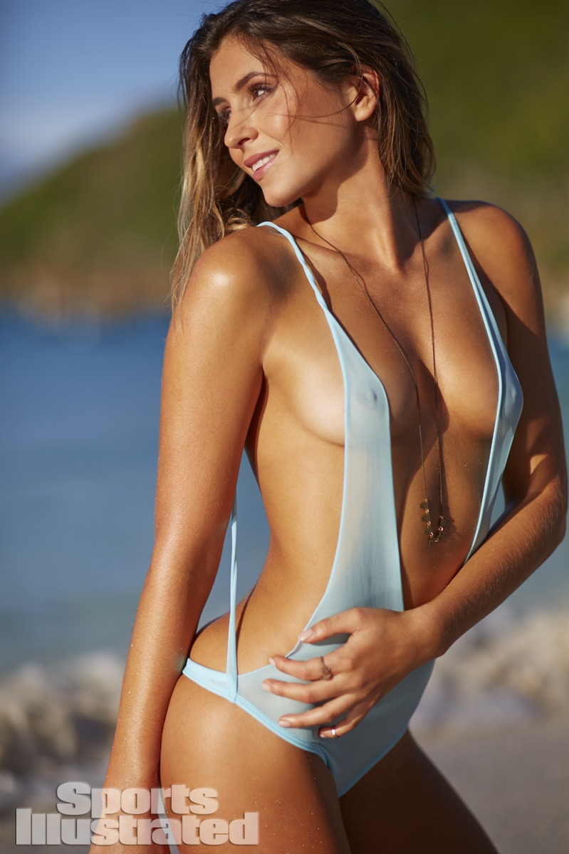 Anastasia Ashley was photographed by Adam Franzino in Guana Island. Swimsuit by Indah.