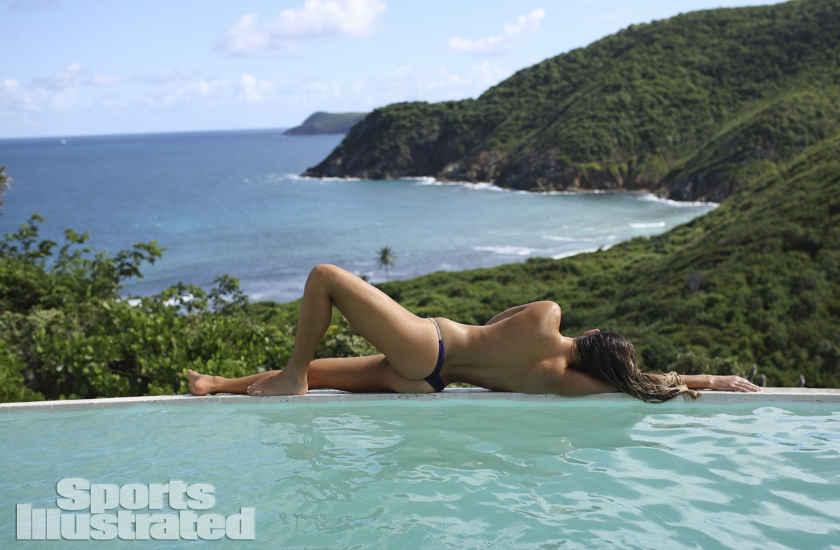 Anastasia Ashley was photographed by Adam Franzino in Guana Island. Swimsuit by TeenyB Bikini Couture.